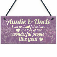 Gifts for Auntie Uncle Birthday Thank You Gift Hanging Plaque Shabby Chic Sign