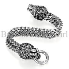 12MM Men Heavy Biker Stainless Steel Lion Head Wheat Chain Bracelet 8 1/2 Inches
