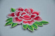 PINK ROSE FLOWER LILY  3' 8cm SEW IRON ON  PATCH BADGE EMBROIDERY APPLIQUE TRIM
