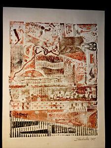 Original Embossed Abstract Art Collograph Press Print Signed Shankweiler 1987