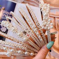 Ladies Big Pearl Crystal Hairband Headband Crown Hair Hoop Accessories Party