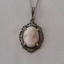 Early Vintage Sterling 10k Gold Cameo Necklace Pendant Filigree Carved Shell