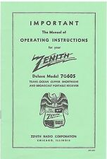 7G605 Zenith Transoceanic Owner's Manual and Schematic/Parts List-Free Shipping