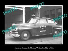 OLD POSTCARD SIZE PHOTO OF MONTREAL CANADA THE POLICE DEPARTMENT CAR c1950