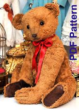 "PDF Pattern 18"" Early Antique Teddy Bear Sewing E-Pattern German Bear Big Paws"