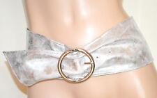 CEINTURE femme PLATINUM ARGENT corset éco-cuir souple métallique boucle belt G30
