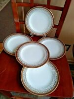 ROYAL CAULDON England Greek Key Gold Filigree Salad PLATE H8713 LOT 5