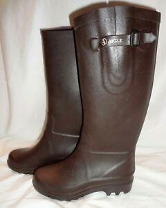 Aigle Aiglentine Wellington Tall Rain Boots 37 Made In France Dark Brown US7