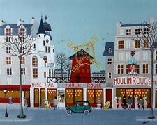 """Gabriel Donnet """"Le Bal du Moulin Rouge"""" Tableau naïf original -"""