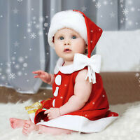 Toddler Baby Girls Sleeveless Christmas Princess Dress + Bowknot Hat Outfits AU