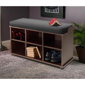 Winsome Wood Townsend Storage Bench, Seat Cushion, Black & Espresso