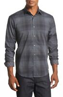 Bugatchi Uomo Shaped Fit Plaid Sport Shirt NWT Charcoal S