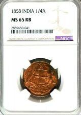 1858 INDIA 1/4 Anna UNC MS65 RB [KM#463] 'Brilliant Uncirculated' - RARE -