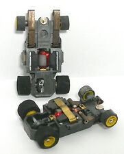 2pc 1982 Aurora AFX G+ G-PLUS Slot Car WIDE CHASSIS Bench Tested YELLOW Wheel Du