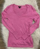 Halogen Women's Pink Long Sleeve V-Neck Sweater Pima Cotton Size XS