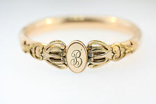ART NOUVEAU ROSE GOLD FILLED HINGED BANGLE BRACELET INITIAL MONOGRAM B