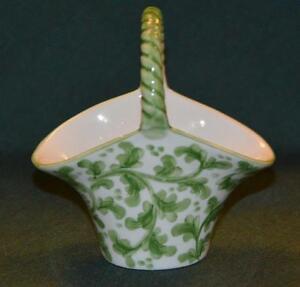 Andrea by Sadek Mini Basket/Handled Vase - Green Vine Pattern