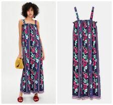 Zara Floral Print Long Maxi Dress With Ruffled Neckline size M Medium  UK 12/14