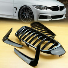 Front Grill Gloss Black & Side Vent Fender For 14-19 4-Series BMW F32 F33 F36