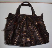 Burberry PRORSUM Runway Brown Leather Metal Stitch Large Satchel Handbag Purse