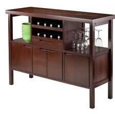 Liquor Cabinet Mini Bar Furniture Wine Rack Buffet Table Kitchen Island  Brown
