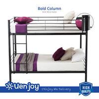 Twin over Twin Metal Bunk Beds Frame Ladder for Kids Children Adult Bedroom Dorm