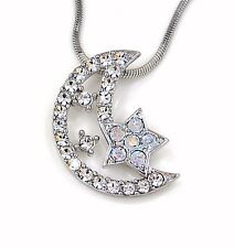 New Silver Crescent Moon Star Austrian Crystal Charm Pendant Necklace