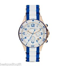 MARC JACOBS BLUE+WHITE SILICONE WRAPPED ROSE GOLD S/STEEL+CHRONO WATCH-MBM2594