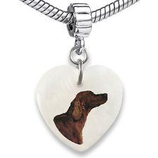 Irish Setter Heart Dangle Mother Of Pearl European Bracelet Charm Bead EBS211