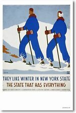 They Like Winter in New York State - NEW Vintage Art Print Ski POSTER
