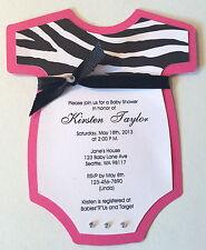 8 Baby Girl Shower Bodysuit Invitations Pink Zebra Print Custom Personalized!