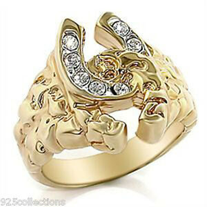 Double Link Horse Shoe April Clear Crystal Stone Two Tone Men's Ring Size 14