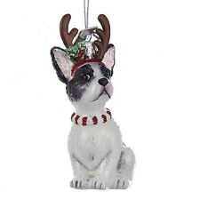 French Bulldog w/Antlers Noble Gems Glass Ornament