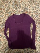 L.K. Bennett Women's Purple Gathered Long-Sleeved T-Shirt Top S UK 8-10 EU 36-38