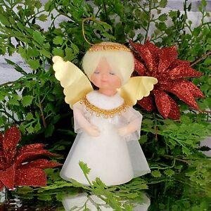 Vintage Tulle Angel Ornament Mini Tree Topper MCM 50s Cone Base Christmas Foil