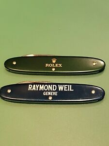 Watchmakers Case Knives Rolex and Raymond Weil