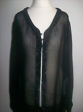 Zara Largo Negro De Gasa Lentejuelas Top Talla XL UK 14-16