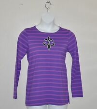 Bob Mackie Striped Knit Top with Fleur De Lis Applique Size 1X Purple