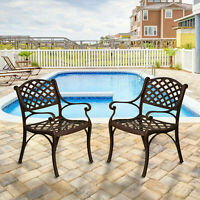 Outdoor Set of 2 Solid Cast Aluminum Patio Dining Chairs for Yard Pool Garden