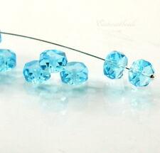 Preciosa Rondelle Beads, 8x4mm, Aqua, w/Fire Polished Finish, Czech, 30 Pieces