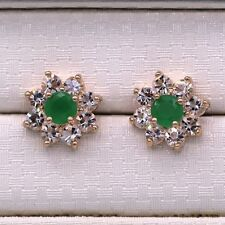 Pretty New 18K Gold Plated Emerald Green & Clear Crystal CZ Stud Earrings