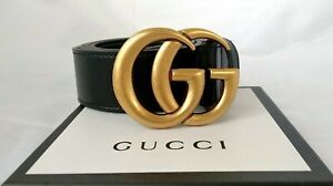 Gucci Belt women Double G Buckle GG Marmont Black Leather Belt with Gold Buckle