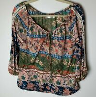 Cure Women's Top Size Large Petite Tie Neck 3/4 Sleeves Floral Colorful Casual