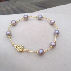 8-8.5inch Natural South Sea  8-9mm Genuine Gray Pearl Bracelet 14k Yellow Gold