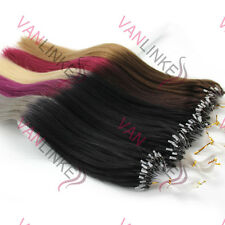 """16""""18""""20""""22""""24""""26"""" Micro Ring Beads Loop Tip Remy Human Hair Extensions 100S"""