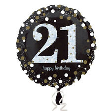 21st Happy Birthday Foil Balloon Black Silver Gold Party Decorations Age 21