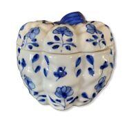 Vintage Porcelain Trinket Dish with Lid White Blue Floral Pumpkin Shape Design