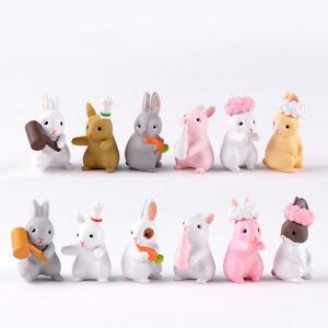 6Pcs Micro Rabbit Miniatures Mini Crafts PVC Model Figure Ornament Random Mixed