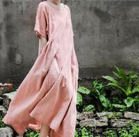 Retro Womens Cotton Linen Vogue Loose Fit Short Sleeve Maxi Dress Leisure A-Line