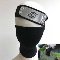 Leaf Village Ninja Headband & Cosplay Black Mask For Naruto Hatake Kakashi New